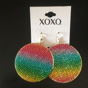 XOXO Multi Color Crystal Disk earrings
